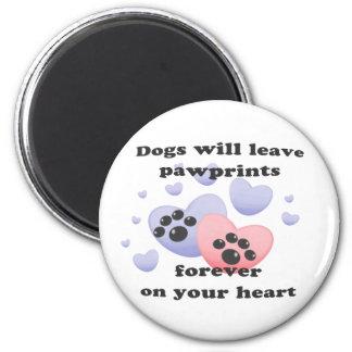Dog Pawprints On The Heart Fridge Magnet