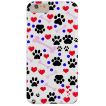 Dog Paws, Bones, Dots, Hearts - Red Pink Blue