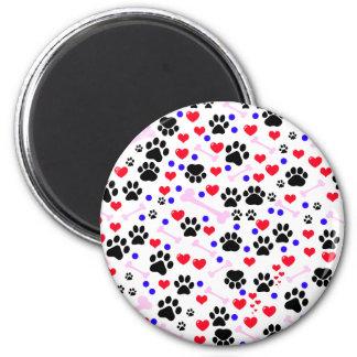 Dog Paws Bones Dots Hearts - Red Pink Blue Refrigerator Magnet