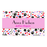 Dog Paws, Bones, Dots, Hearts - Red Pink Blue Pack Of Standard Business Cards