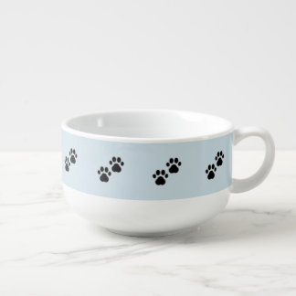 Dog Paws on Blue Soup Mug