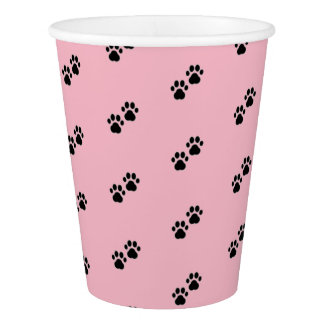 Dog Paws on Pink Paper Cup
