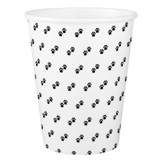 Dog Paws on White Paper Cup