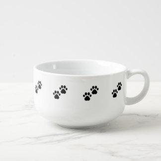 Dog Paws on White Soup Mug