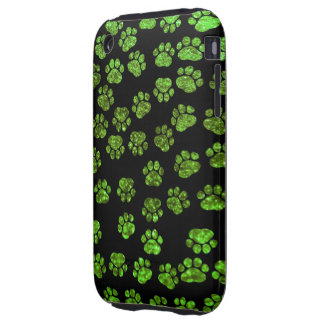 Dog Paws, Paw-prints, Glitter - Green Black iPhone 3 Tough Cases