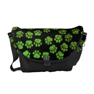 Dog Paws, Paw-prints, Glitter - Green Black Courier Bag