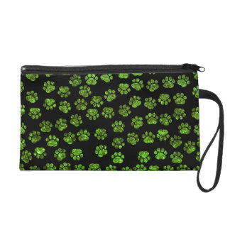 Dog Paws, Paw-prints, Glitter - Green Black Wristlet