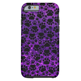 Dog Paws, Paw-prints, Glitter - Purple Black Tough iPhone 6 Case