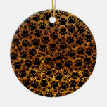 Dog Paws, Traces, Paw-prints, Glitter - Gold Black Ornament
