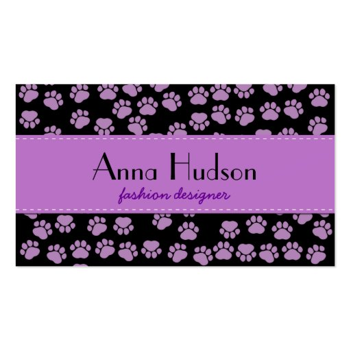 Dog Paws, Traces, Paw-prints - Purple Black Business Card Templates