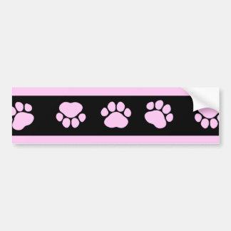 Dog Paws, Traces, Paw-prints, Stripes - Pink Black Bumper Sticker