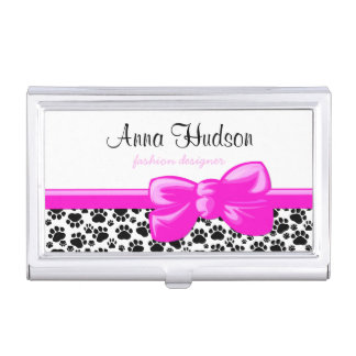Dog Paws, Traces, Paw-prints - White Black Business Card Holder