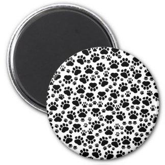 Dog Paws Traces Paw-prints - White Black Fridge Magnets
