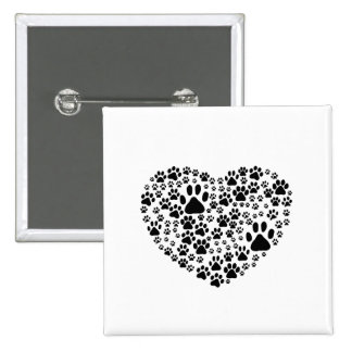Dog Paws, Trails, Paw-prints, Heart - Black 15 Cm Square Badge