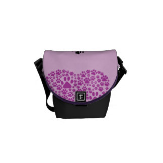 Dog Paws, Trails, Paw-prints, Heart - Black Purple Courier Bags