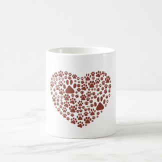 Dog Paws, Trails, Paw-prints, Heart - Brown Coffee Mug