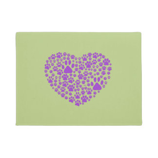 Dog Paws, Trails, Paw-prints, Heart - Purple Doormat