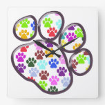 Dog Paws, Trails, Paw-prints - Red Blue Green