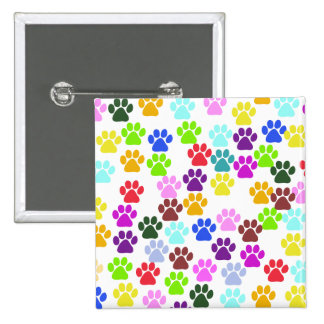 Dog Paws, Trails, Paw-prints - Red Blue Green 15 Cm Square Badge