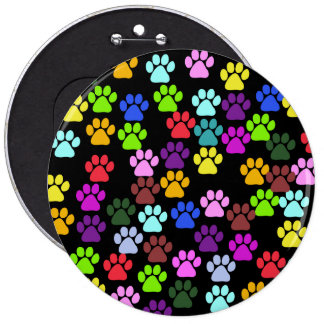 Dog Paws, Trails, Paw-prints - Red Blue Green 6 Cm Round Badge