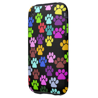 Dog Paws, Trails, Paw-prints - Red Blue Green Tough iPhone 3 Cover