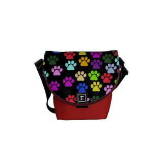 Dog Paws, Trails, Paw-prints - Red Blue Green Commuter Bag
