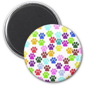 Dog Paws Trails Paw-prints - Red Blue Green Fridge Magnet