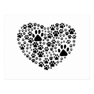 Dog Paws Trails Pawprints Heart White, Black Postcards