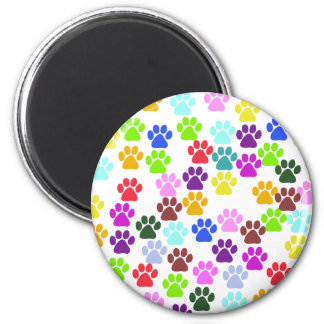 Dog Paws Trails Pawprints Red Blue Green Yellow Fridge Magnet