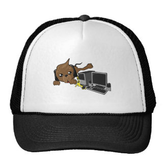 dog peeing on pc smiley trucker hats