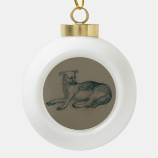Dog. Pencil drawing. Ceramic Ball Christmas Ornament