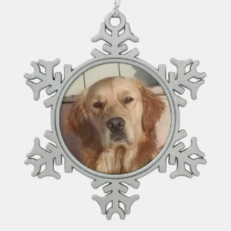 Dog Pewter Snowflake Ornament