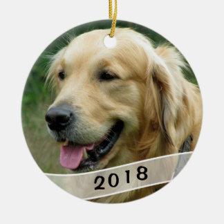 Dog Photo Family Pet Dated Round Ceramic Decoration
