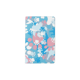 Dog Pink and Blue Camouflage Pattern Pocket Moleskine Notebook