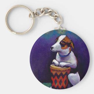 Dog playing bongo drum fun original drumming art basic round button key ring