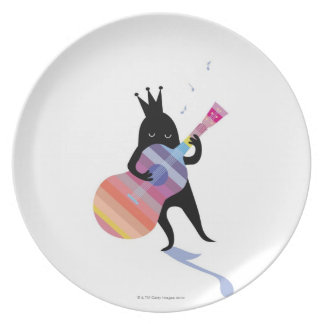 Dog Playing Guitar Plate