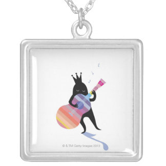 Dog Playing Guitar Silver Plated Necklace