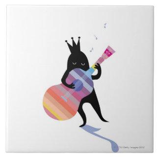 Dog Playing Guitar Tile