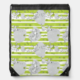 dog playing pattern background drawstring bag