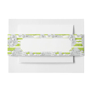dog playing pattern background invitation belly band
