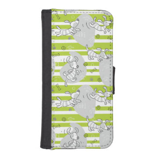 dog playing pattern background iPhone SE/5/5s wallet case