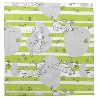 dog playing pattern background napkin