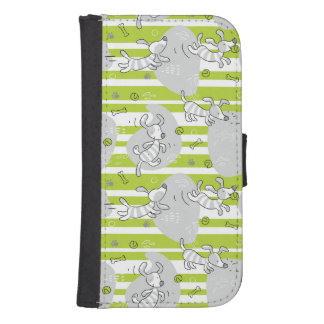dog playing pattern background samsung s4 wallet case
