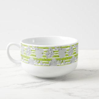 dog playing pattern background soup mug