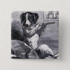 """Dog Playing the Flute"" Vintage Illustration 15 Cm Square Badge"