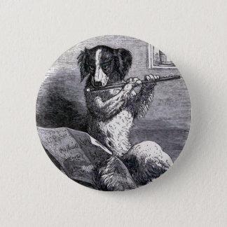 """Dog Playing the Flute"" Vintage Illustration 6 Cm Round Badge"