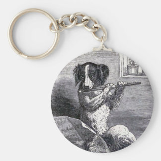 """Dog Playing the Flute"" Vintage Illustration Basic Round Button Key Ring"