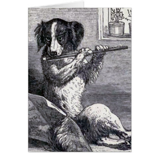 """Dog Playing the Flute"" Vintage Illustration Greeting Card"