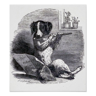 """Dog Playing the Flute"" Vintage Illustration Poster"