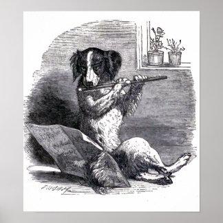 """Dog Playing the Flute"" Vintage Illustration Poster"